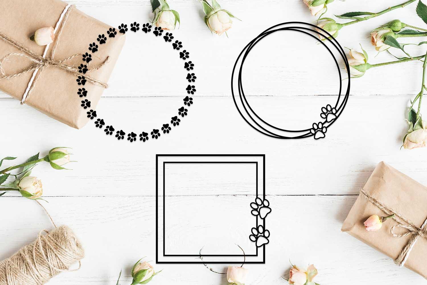 Download Free Set Of Dog Paw Frames Graphic By Helartshop Creative Fabrica for Cricut Explore, Silhouette and other cutting machines.