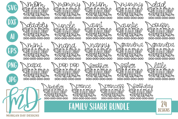Shark Family Bundle Graphic By Morgan Day Designs Image 1