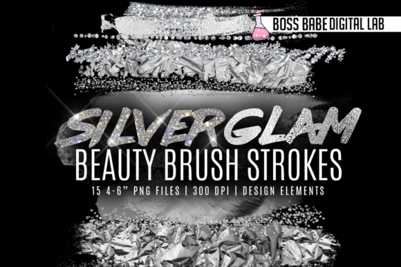 Print on Demand: Silver Glam Beauty Brush Strokes Graphic Textures By bossbabedigitallab - Image 1