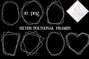 Silver Glitter Polygonal Frames Graphic By fantasycliparts