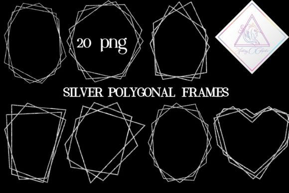 Print on Demand: Silver Glitter Polygonal Frames Graphic Illustrations By fantasycliparts - Image 1