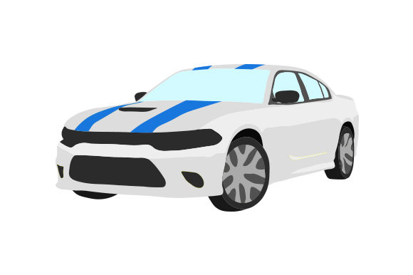 Silver Sports Car with Blue Stripes Garage Craft Cut File By Creative Fabrica Crafts