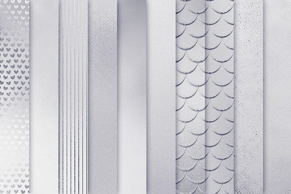 Print on Demand: Silver Textures Graphic Patterns By Creative Paper - Image 2