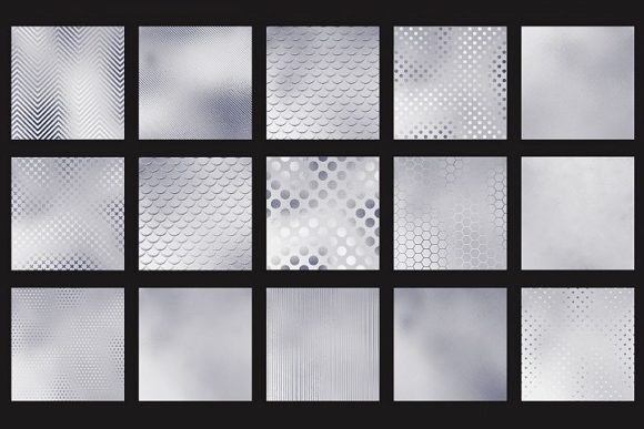 Print on Demand: Silver Textures Graphic Patterns By Creative Paper - Image 4