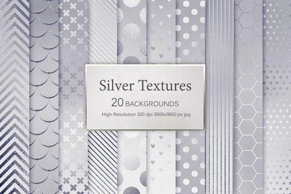 Print on Demand: Silver Textures Graphic Patterns By Creative Paper - Image 1