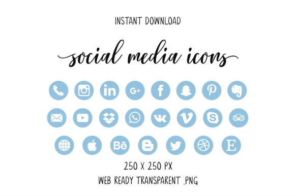 Sky Blue Social Media Icons Graphic Icons By The Branding Place