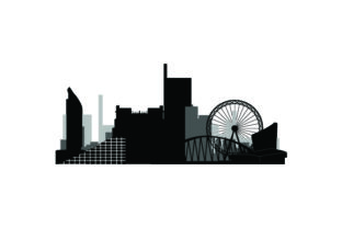 Skyline SIlhouette of Manchester UK Designs Craft Cut File By Creative Fabrica Crafts