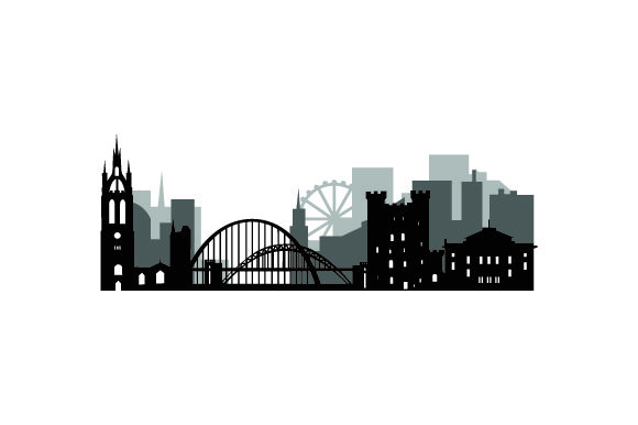 Skyline SIlhouette of Newcastle UK Designs Craft Cut File By Creative Fabrica Crafts
