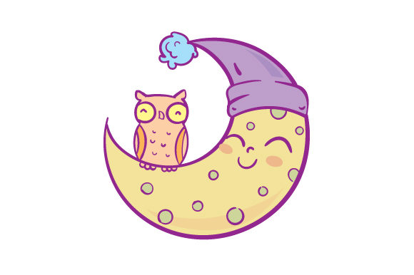 Download Free Sleepy Moon With Owl Svg Cut File By Creative Fabrica Crafts for Cricut Explore, Silhouette and other cutting machines.
