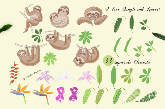 Sloths in Jungle Digital Clipart  Animal Graphic By natalia.piacheva Image 2
