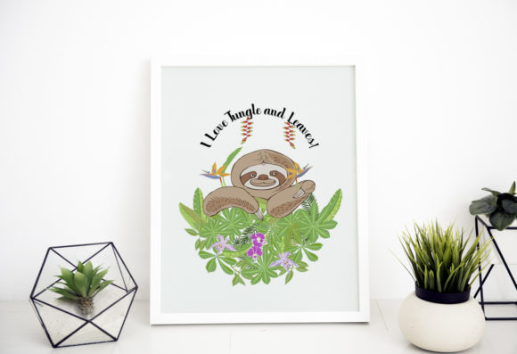 Sloths in Jungle Digital Clipart  Animal Graphic By natalia.piacheva Image 4