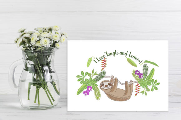 Sloths in Jungle Digital Clipart  Animal Graphic By natalia.piacheva Image 6