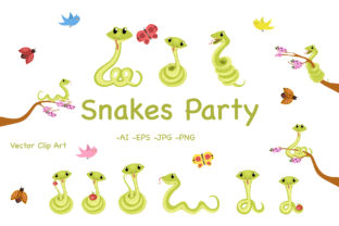 Snakes Perty Graphic By InkandBrush