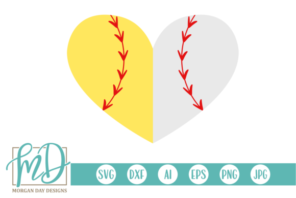 Download Free Softball Baseball Heart Svg Graphic By Morgan Day Designs for Cricut Explore, Silhouette and other cutting machines.
