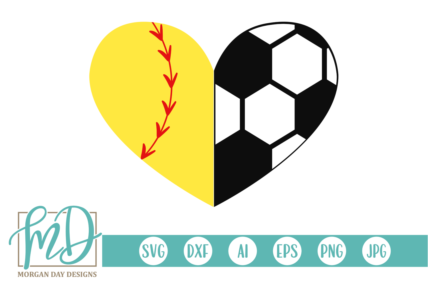 Download Free Softball Soccer Heart Svg Graphic By Morgan Day Designs for Cricut Explore, Silhouette and other cutting machines.
