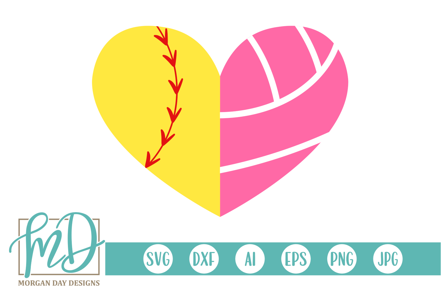 Download Free Softball Volleyball Heart Svg Graphic By Morgan Day Designs for Cricut Explore, Silhouette and other cutting machines.