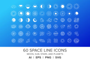 Space Line Icons Set Graphic By Running With Foxes