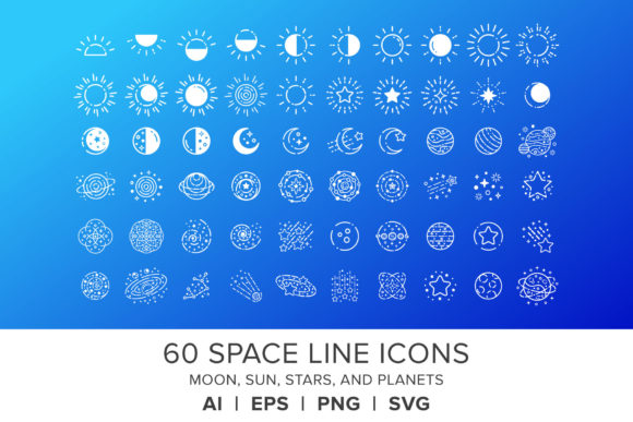 Print on Demand: Space Line Icons Set Graphic Icons By Running With Foxes