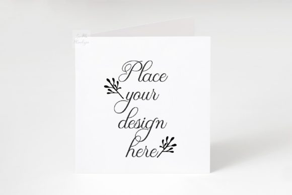 Print on Demand: Square Greetting Card Mockup Graphic Product Mockups By Leo Flo Mockups