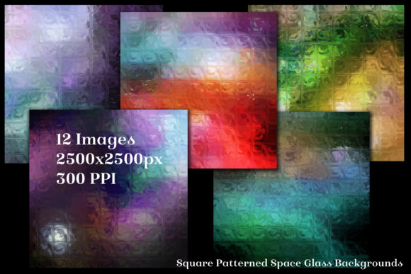 Print on Demand: Square Patterned Space Glass Backgrounds Graphic Backgrounds By SapphireXDesigns - Image 2