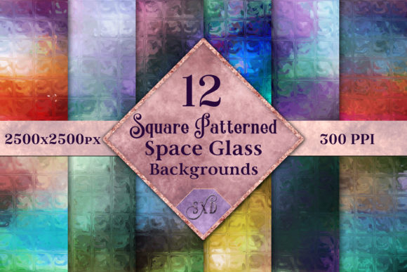 Print on Demand: Square Patterned Space Glass Backgrounds Graphic Backgrounds By SapphireXDesigns - Image 1