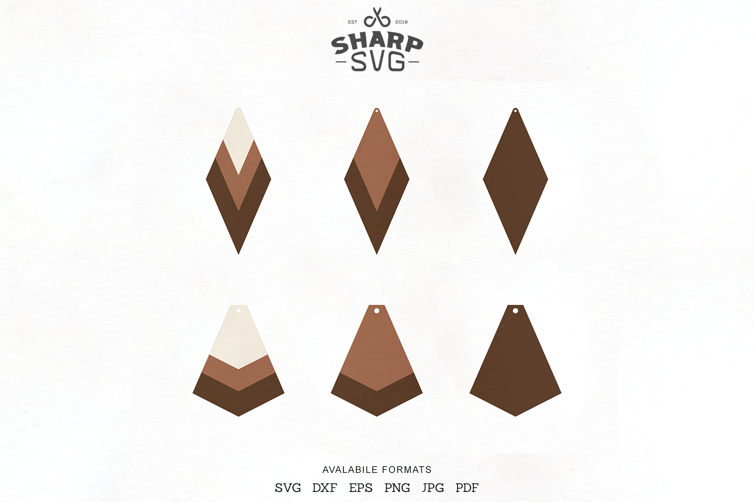 Download Free Stacked Earrings Geometric Leather Graphic By Sharpsvg for Cricut Explore, Silhouette and other cutting machines.