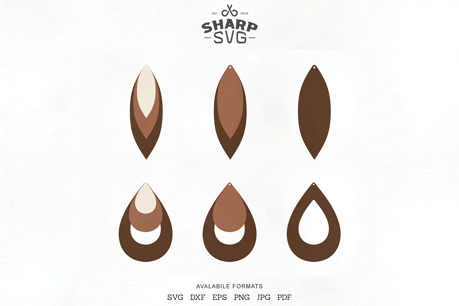 Download Free Stacked Earrings Teardrop Leather Graphic By Sharpsvg Creative for Cricut Explore, Silhouette and other cutting machines.