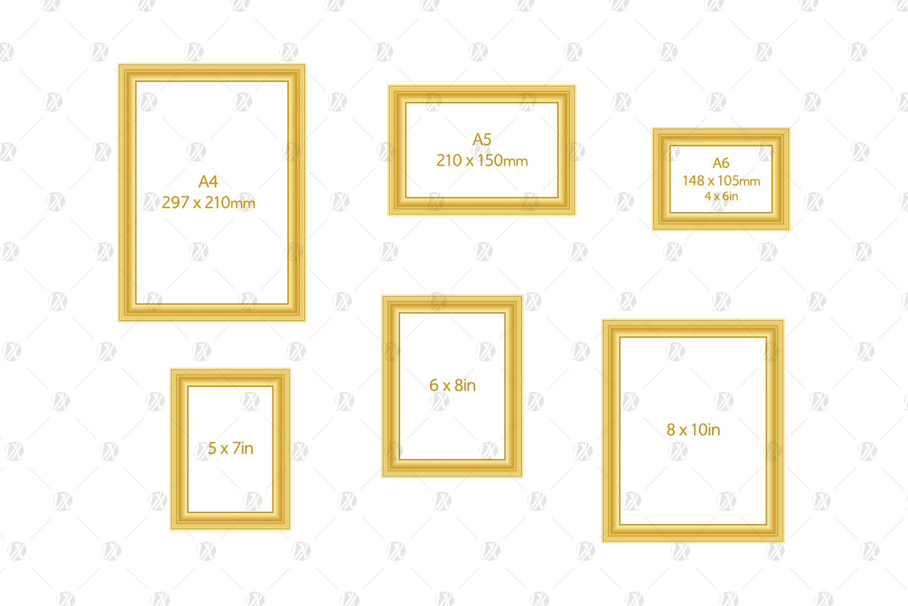 Download Free Standard Sizes Minimal Gilded Frames Graphic By Pedro Alexandre for Cricut Explore, Silhouette and other cutting machines.