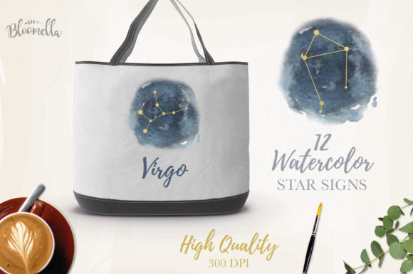 Star Signs Set 12 Watercolor Zodiac Sky Graphic Illustrations By Bloomella - Image 2