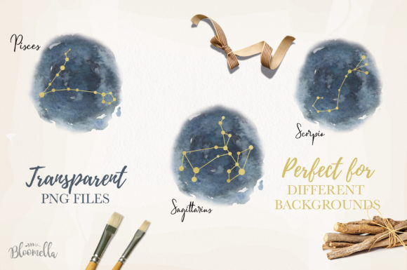 Star Signs Set 12 Watercolor Zodiac Sky Graphic Illustrations By Bloomella - Image 6