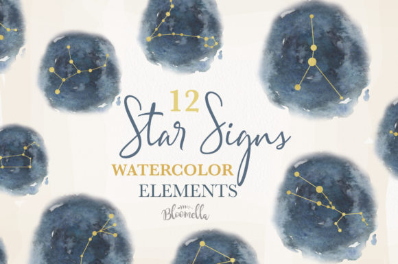 Star Signs Set 12 Watercolor Zodiac Sky Graphic Illustrations By Bloomella