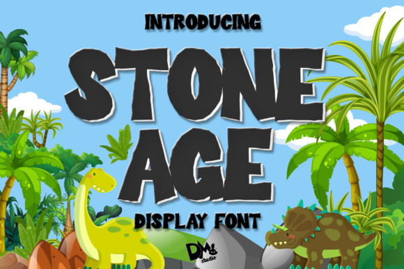 Print on Demand: Stone Age Display Font By dmletter31