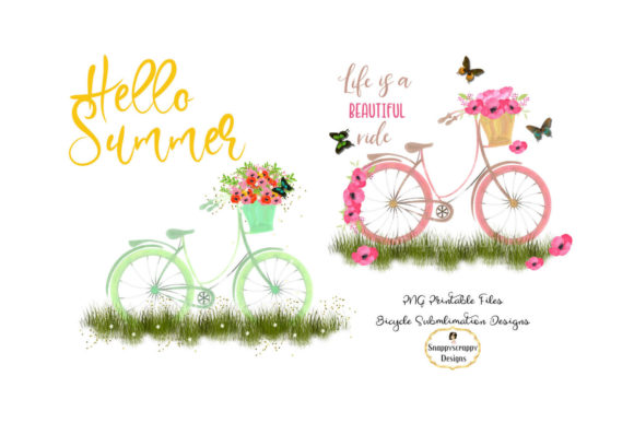 Summer Bicycle Sublimations Graphic Illustrations By Snappyscrappy