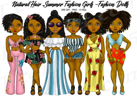 Summer Fashion Girls AA Clipart Graphic Illustrations By Deanna McRae