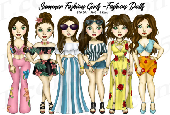 Summer Fashion Girls Brunette Clipart Graphic Illustrations By Deanna McRae
