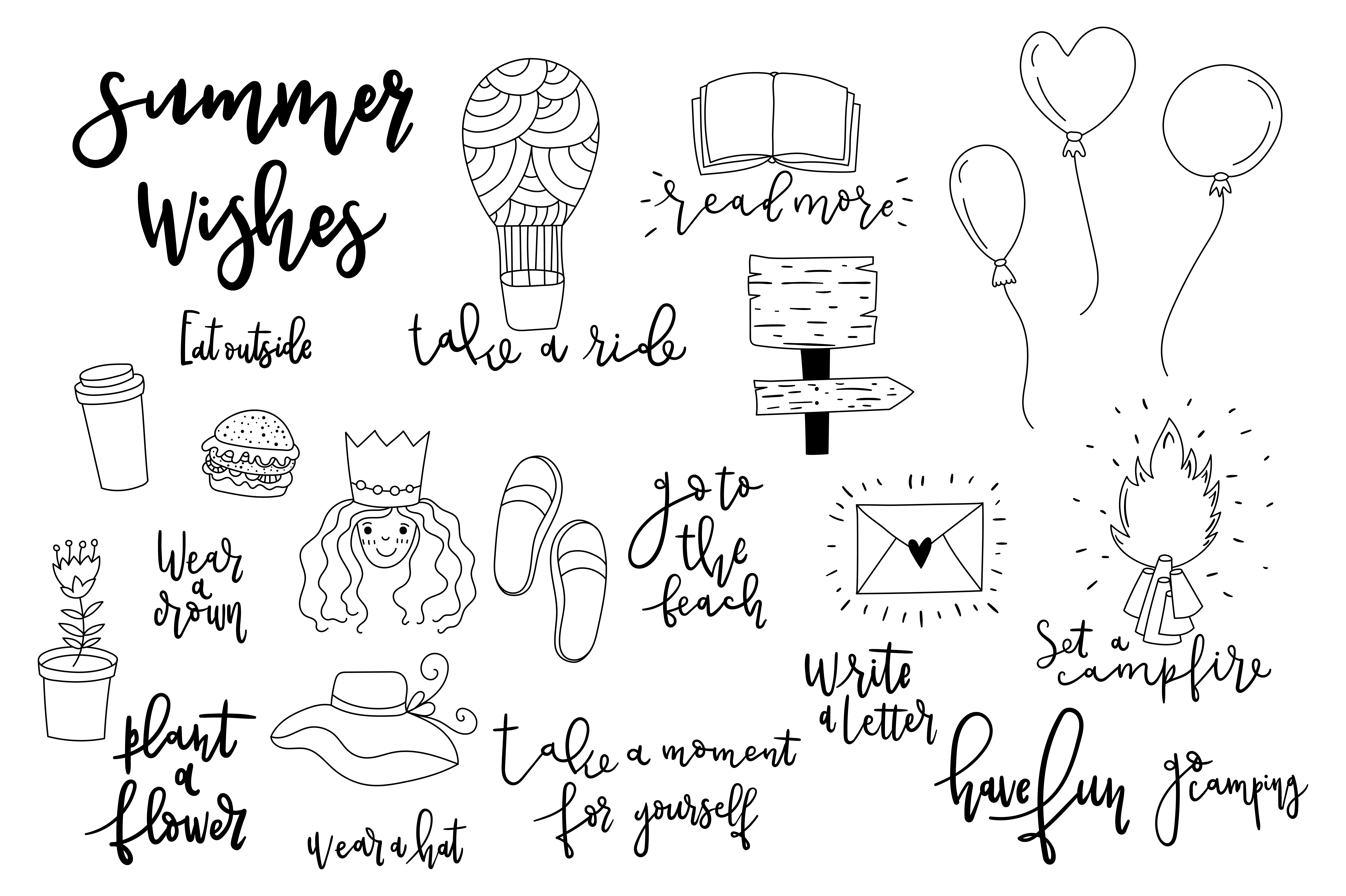 Download Free Summer Wishes Doodles Graphic By Sentimental Postman Creative for Cricut Explore, Silhouette and other cutting machines.