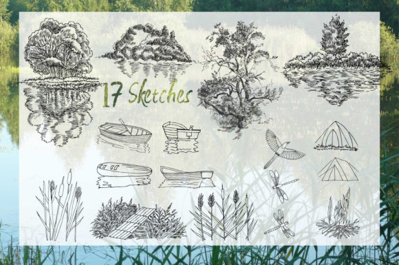 Print on Demand: Summer on the Lake. Sketches Clipart Graphic Illustrations By natalia.piacheva - Image 2