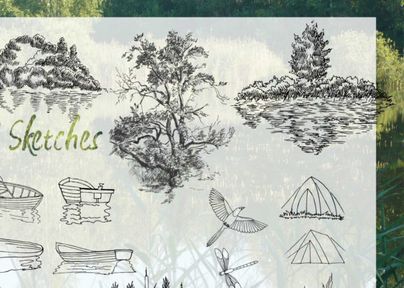 Print on Demand: Summer on the Lake. Sketches Clipart Graphic Illustrations By natalia.piacheva - Image 3