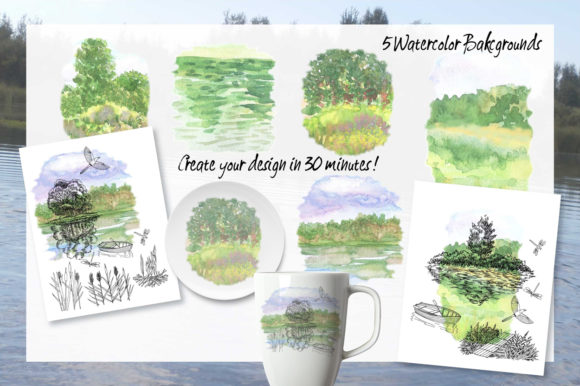 Print on Demand: Summer on the Lake. Sketches Clipart Graphic Illustrations By natalia.piacheva - Image 4