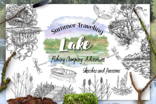 Summer on the Lake. Sketches Clipart Graphic By natalia.piacheva