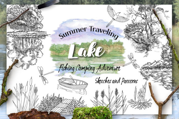 Print on Demand: Summer on the Lake. Sketches Clipart Graphic Illustrations By natalia.piacheva - Image 1