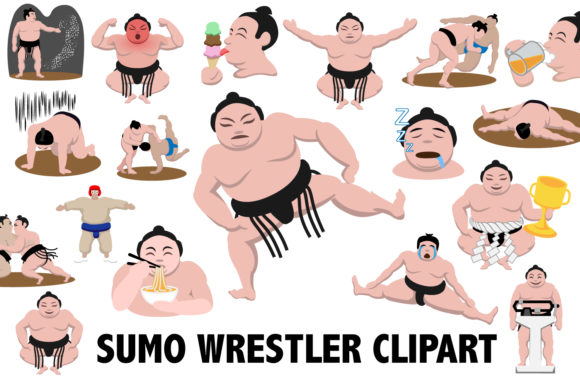 Sumo Wrestling Clipart Graphic Illustrations By Mine Eyes Design