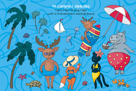 Print on Demand: Sun and Fun. Summer Beach Doodles Set. Graphic Illustrations By Olga Belova - Image 2