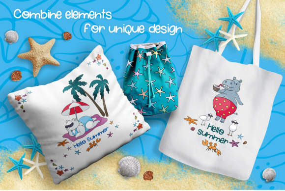 Print on Demand: Sun and Fun. Summer Beach Doodles Set. Graphic Illustrations By Olga Belova - Image 6