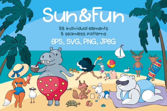 Print on Demand: Sun and Fun. Summer Beach Doodles Set. Graphic Illustrations By Olga Belova