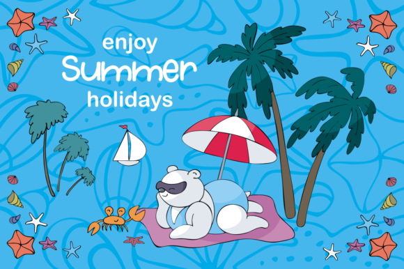 Print on Demand: Sun and Fun. Summer Beach Doodles Set. Graphic Illustrations By Olga Belova - Image 7
