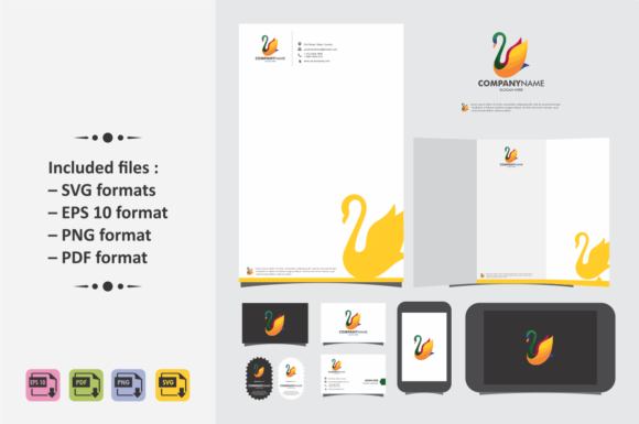 Print on Demand: Swan Logo Template, Colorful. Graphic Scene Generators By Ahsancomp Studio