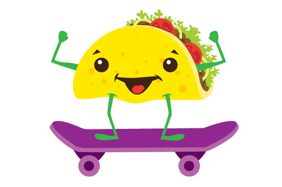 Download Free Taco Character On A Skateboard Svg Cut File By Creative Fabrica for Cricut Explore, Silhouette and other cutting machines.