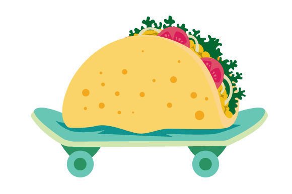 Download Free Taco On A Skateboard Svg Cut File By Creative Fabrica Crafts for Cricut Explore, Silhouette and other cutting machines.