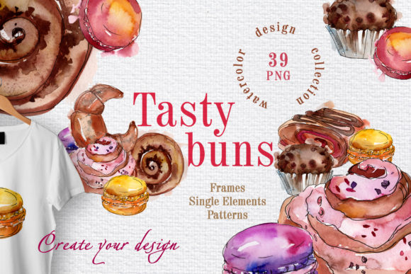Print on Demand: Tasty Buns Watercolor Graphic Illustrations By MyStocks